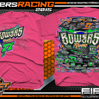Bowers Racing Dirt Modified Shirt 2015 Safety Pink
