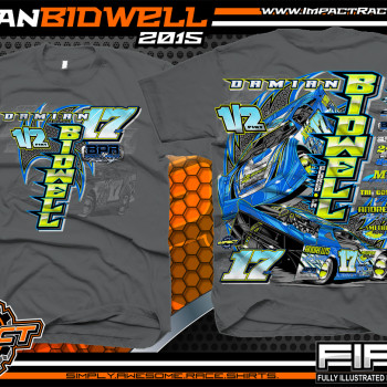 Damian Bidwell Dirt Late Model Shirt 2015 Charcoal