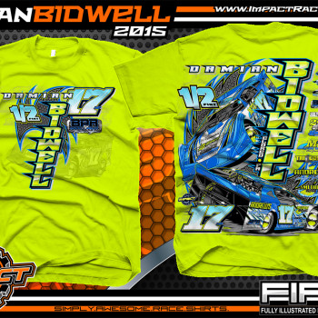 Damian Bidwell Dirt Late Model Shirt 2015 Safety Green