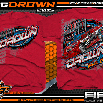 Doug Drown Dirt Late Model Shirt 2015 Antique Cherry Red 2