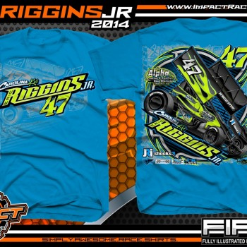 Eric Riggins Jr Winged Sprint Car T-Shirt Sapphire