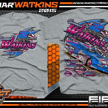 Gunnar Watkins Dirt Late Model Shirt 2015 Sport Grey