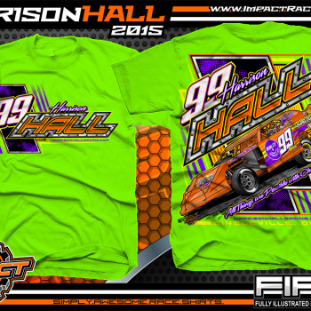 Harrison Hall Dirt Modified Racing Shirt 2015 Neon Green