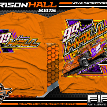 Harrison Hall Dirt Modified Racing Shirt 2015 Orange