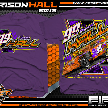 Harrison Hall Dirt Modified Racing Shirt 2015 Purple