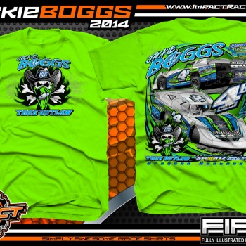 Jackie Boggs Dirt Late Model T-Shirt Neon Green