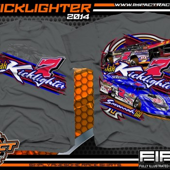 Jak Kicklighter Dirt Late Model T-Shirt Charcoal