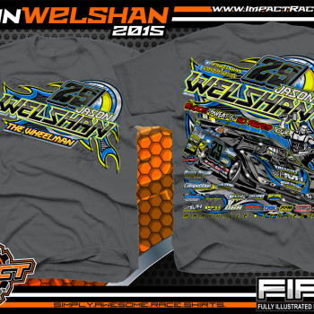 Jason Welshan Dirt Late Model Shirt 2015 Charcoal
