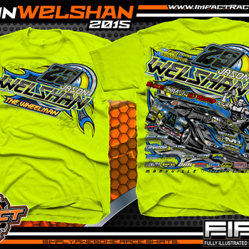 Jason Welshan Dirt Late Model Shirt 2015 Safety Green