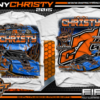 Kenny Christy Dirt Late Model Shirt 2015 White