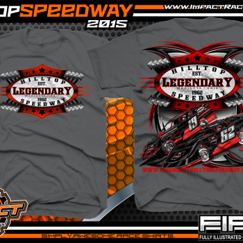 Legendary Hilltop Speeway Dirt Late Model Shirt 2015 Charcoal
