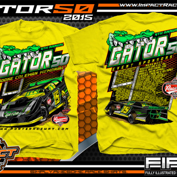 Portsmouth Raceway Park Gator 50 Dirt Late Model Event Shirt 2015