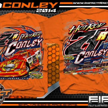 Rod Conley Dirt Late Model T-Shirt Safety Orange