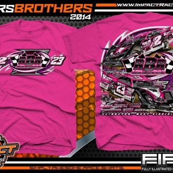 Rogers Brothers Racing Dirt Late Model T-Shirt Safety Pink