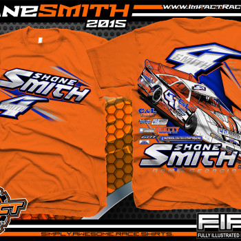 Shane Smith Dirt Late Model Shirts 2015 Orange