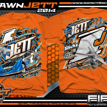 Shawn Jett Dirt Late Model T-Shirt Safety Orange