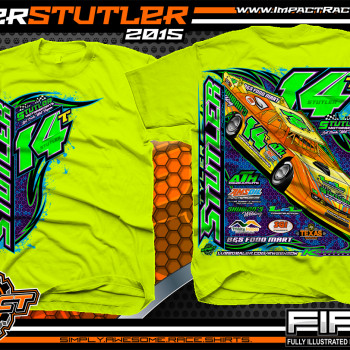 Tyler Stutler Dirt Late Model Shirt 2015 Safety Green