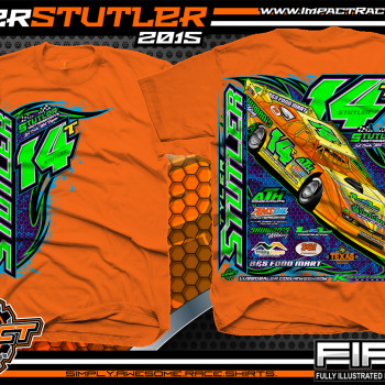 Tyler Stutler Dirt Late Model Shirt 2015 Safety Orange