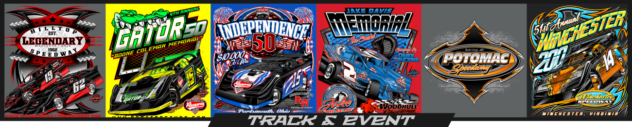 Impact RaceGear provides screen printed apparel for the dirt track racing industry with our track and race event shirts.