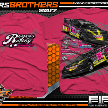 Cody Rogers Derek Rogers Fastrak Dirt Late Model Dirt Track Racing T-Shirts Pink