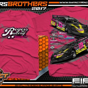 Cody Rogers Derek Rogers Fastrak Dirt Late Model Dirt Track Racing T-Shirts Pink