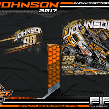 JD Johnson World of Outlaws Sprint Car Dirt Track Racing T-Shirts Black