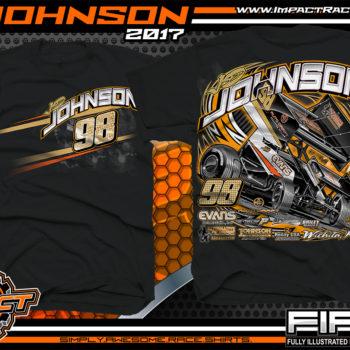 JD Johnson World of Outlaws Sprint Car Dirt Track Racing T-Shirts Black
