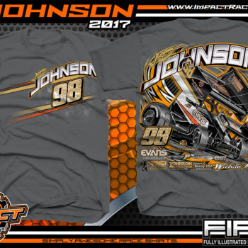 JD Johnson World of Outlaws Sprint Car Dirt Track Racing T-Shirts Charcoal
