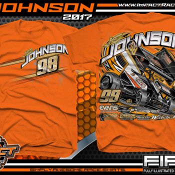 JD Johnson World of Outlaws Sprint Car Dirt Track Racing T-Shirts Orange