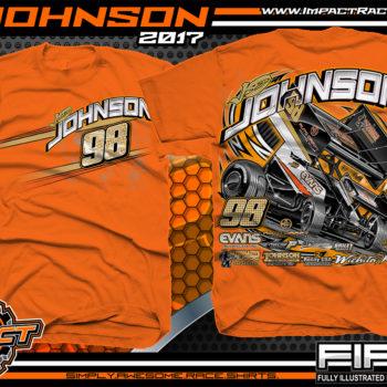 JD Johnson World of Outlaws Sprint Car Dirt Track Racing T-Shirts Orange
