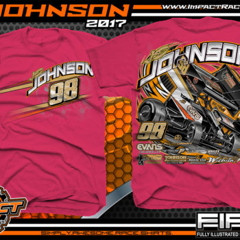JD Johnson World of Outlaws Sprint Car Dirt Track Racing T-Shirts Pink
