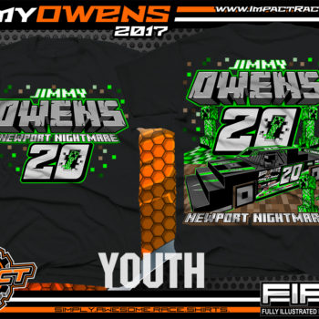 Jimmy Owens Minecraft Kids Lucas Oil Dirt Late Model Dirt Track Racing Shirt