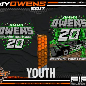 Jimmy Owens Minecraft Kids Lucas Oil Dirt Late Model Dirt Track Racing Shirt