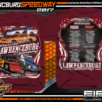 Lawrencburg Speedway Dirt Track Racing T-Shirt Maroon