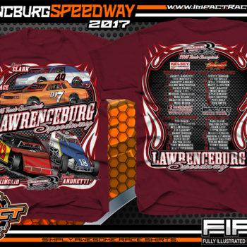 Lawrencburg Speedway Dirt Track Racing T-Shirt Maroon