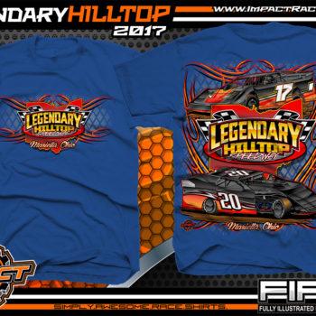 Legendary Hilltop Speedway Dirt Track Late Model Racing T-Shirt for Tracks Royal