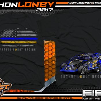 Nathon Loney USMTS Modified Dirt Track Race T-Shirt Black