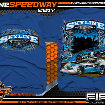 Skyline Speedway Dirt Track Racing Track and Event T-Shirt Royal