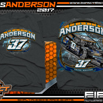 Travis Anderson WISSOTA Modified Dirt Track Racing T-Shirts Dark Heather