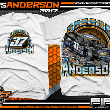 Travis Anderson WISSOTA Modified Dirt Track Racing T-Shirts White