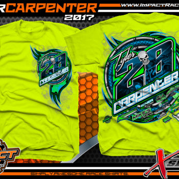 Tyler Carpenter AMRA Dirt Late Model Racing T-Shirts Safety Yellow