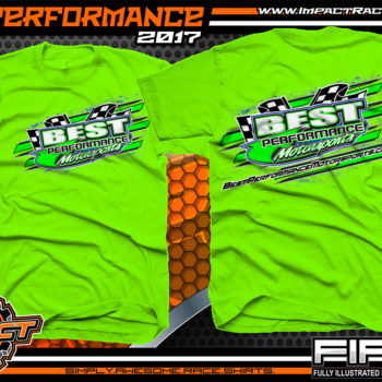 Best Performance Motorsports Lucas Oil Dirt Late Model Racing Team Shirt Neon Green