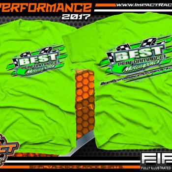 Best Performance Motorsports Lucas Oil Dirt Late Model Racing Team Shirt Neon Green