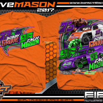 Bobby Grove Zach Mason IMCA Modified Dirt Track Racing T-shirt Orange