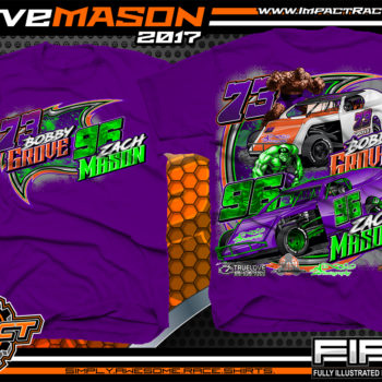 Bobby Grove Zach Mason IMCA Modified Dirt Track Racing T-shirt Purple