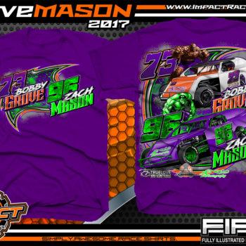 Bobby Grove Zach Mason IMCA Modified Dirt Track Racing T-shirt Purple