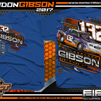 Brandon Gibson IMCA Street Stock Dirt Track Racing T-Shirt Royal