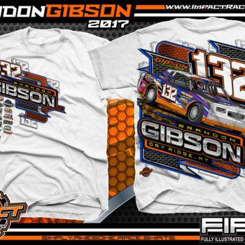 Brandon Gibson IMCA Street Stock Dirt Track Racing T-Shirt White