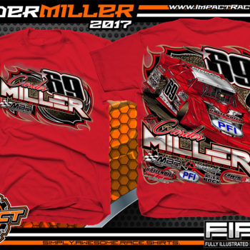Carder Miller Super Dirt Late Model Dirt Racing Shirt Red