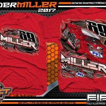 Carder Miller Super Dirt Late Model Dirt Racing Shirt Red